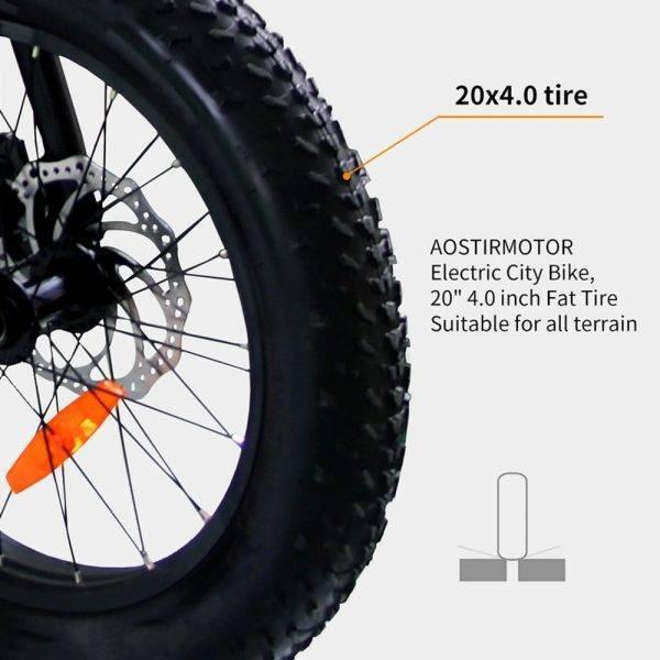 AOSTIRMOTOR Electric Bike 20 Inch Electric Folding Bike Fat Tire Bicycle Snow Beach Ebike 500W 36V 13Ah Lithium Battery Bike Car & Vehicle Electronics