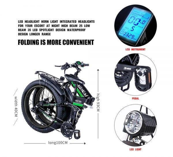 GUNAI Electric Bike,1000W 48V12.8Ah Folding 26 Inch Tire Mountain Bike 21 Speed E-bike Pedal Assist Hydraulic Disc Brake Car & Vehicle Electronics