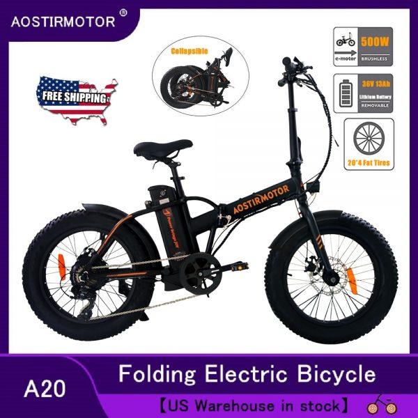 AOSTIRMOTOR Electric Bicycle 20 Inch Electric Folding Bike Fat Tire Snow Beach Ebike 500W 36V 13Ah Lithium Battery Bike Car & Vehicle Electronics
