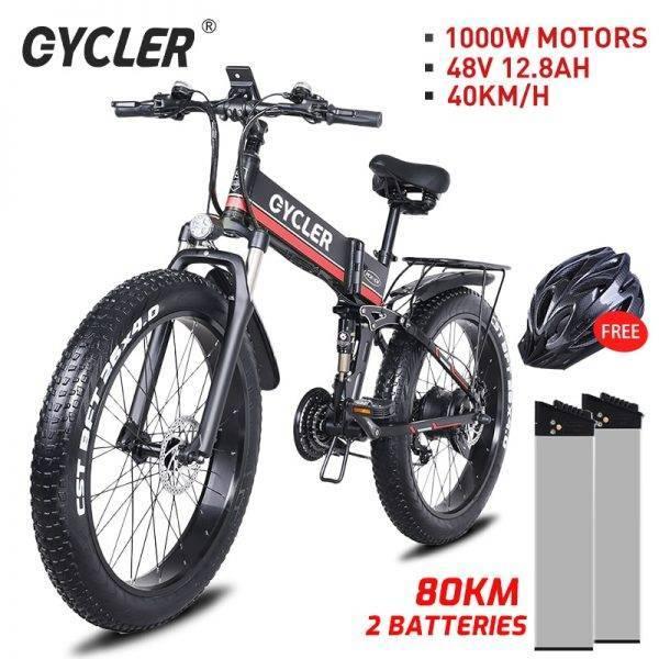 ECYCLER new 1000W 12.8AH smart mountain electric bike snow bike MTB 40KM/h 26 inch tires waterproof and foldable ebike Car & Vehicle Electronics
