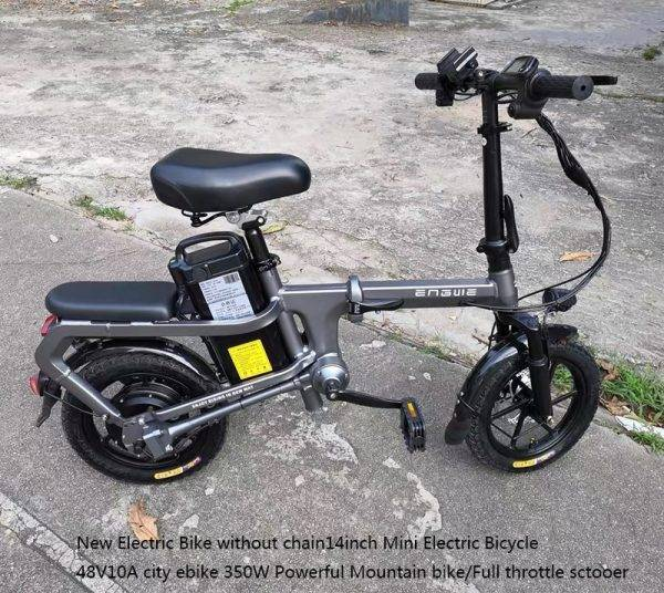 Electric Bike without chain 14inch Mini Electric Bicycle 48V10/15/20A city ebike 350W Powerful 30km/h bike/Full throttle sctooer Car & Vehicle Electronics