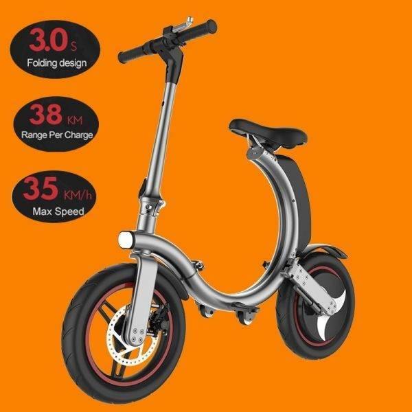 Fast Free Ship High Quality Electric Bicycle Commute Mini Electric Bike 14inch 450W Mini Foldable Black Silver Long Range Car & Vehicle Electronics