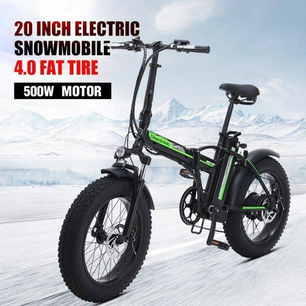 500W electric bike New Super Snow ebike 48V electric Folding bicycle aluminum alloy Motorcycle Portable electric fat tire bike Car & Vehicle Electronics