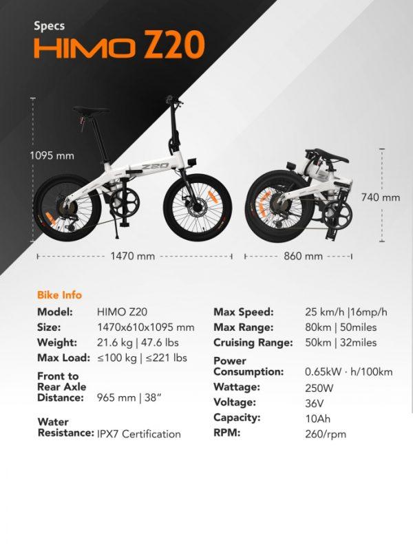 【EU STOCK】80KM Mileage HIMO Z20 Folding Electric Bicycle Ultra-Dynamic Dual Mode E-Bike 250W Moto HD LED Display Urban/Park Bike Car & Vehicle Electronics