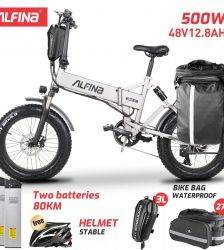 ALFINA New electric bicycle snow mountain electric bike 20inch 4.0 fat tire ebike beach bicicleta eletrica 500W 40KM Car & Vehicle Electronics