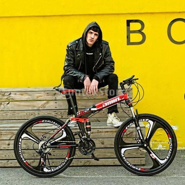 26 inch 21 Speeds Folding Mountain Bikes Women Men Commuting Bicycle Integrated Wheel / Spoke Wheel Road Town Tour Bikes Basket Car & Vehicle Electronics