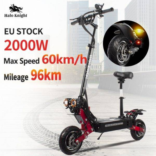 Dual Drive 2000W Adult Electric Scooter With Seat Foldable Halo Knight Fat Tire Hot Sale Electric Motorcycle Kick E Scooter Car & Vehicle Electronics
