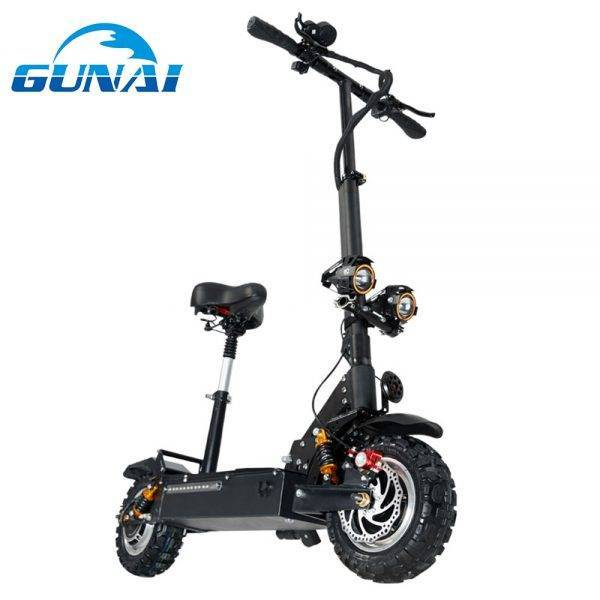 GUNAI Electric Scooter 11 inch 60V 24Ah 3200W Double Drive Motor Adult Scooter Max Speed 70km/h with Removeable Seat Car & Vehicle Electronics