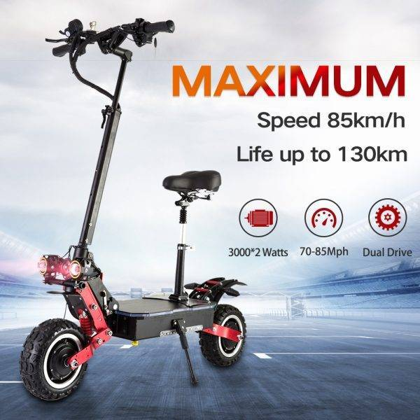 Electric Scooter Adult, 6000W Moter Fast Foldable Eletrick Scooters With Seats, big wheels, Max Speed to 85km/h, LCD Display Car & Vehicle Electronics