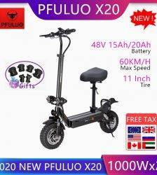 2020 New PFULUO X20 Foldable Electric Scooter 2000W Dual Motor 11inch Off-road e-scooter skateboard With Seat 60km/h Car & Vehicle Electronics