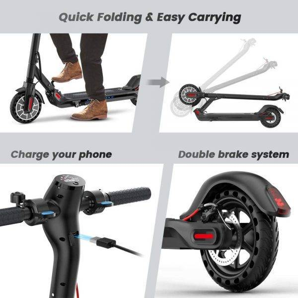 350W Powerful Adult Electric Scooter Folding Electric &Disc Brake 8.5 inch with APP Control with USB Port Honeycomb Tire Car & Vehicle Electronics