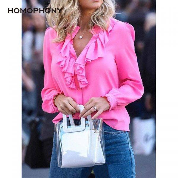 Women Blouse Elegant Fashion Ruffles Blouse Shirt Solid V Neck Vintage Women Tops Long Sleeve Spring And Summer Office Lady Top Blouses & Shirts WOMEN'S FASHION