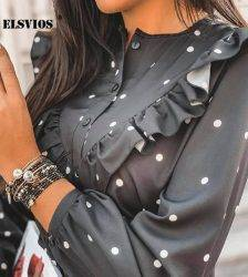 Lady Autumn Long Sleeve Polka Dot Ruffle Blouse Shirt Elegant Casual O Neck Buttons Pullover Women 2020 Spring streetwear Tops Blouses & Shirts WOMEN'S FASHION