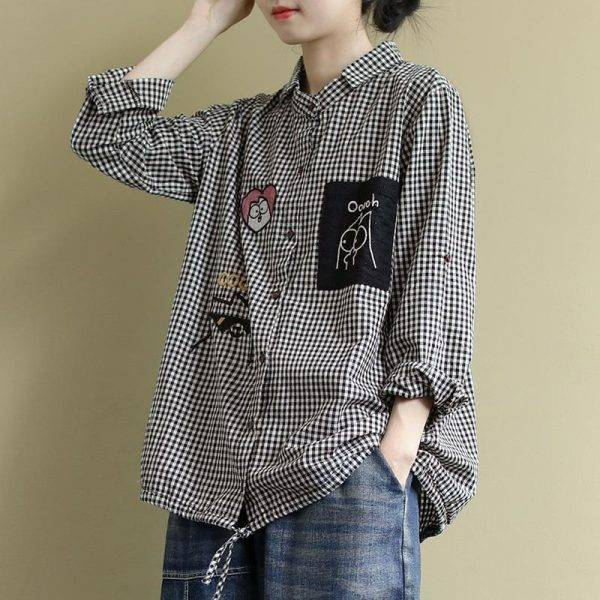 2020 Spring New Arts Style Women Long Sleeve Loose Shirts all-matched Casual Plaid Turn-down Collar Blouses Blusa Feminina S611 Blouses & Shirts WOMEN'S FASHION