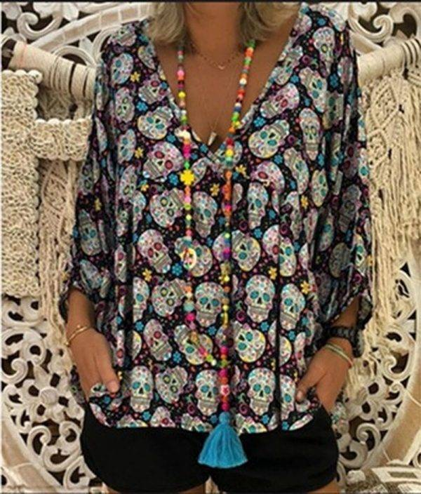 Blouse Woman Large Size Women's Shirt 2020 Autumn Thin Butterfly Print Plus Size Shirts Lady Cropped Sleeve Tunic Corduroy Shirt Blouses & Shirts WOMEN'S FASHION