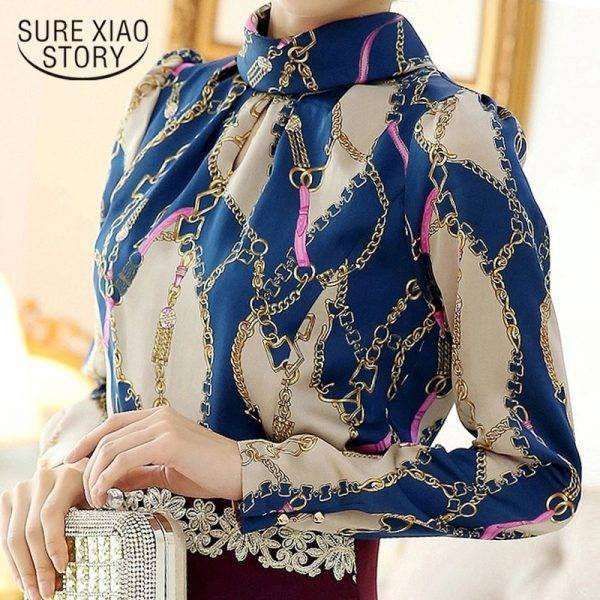 Fashion woman blouses 2020 print chiffon blolouse shirt blusas femininas office women blouses long sleeve women shirt 1817 50 Blouses & Shirts WOMEN'S FASHION