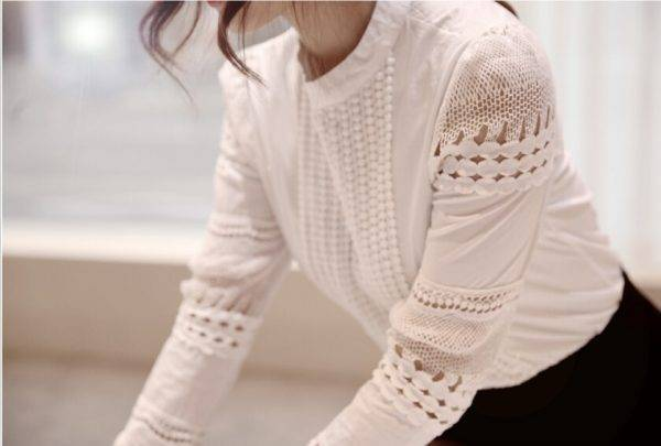 2019 Summer New Women Blouses Slim Bottoming Long-sleeved White Shirt Lace Hook Flower Hollow Casual Shirts Blouse Plus Size 5xl Blouses & Shirts WOMEN'S FASHION