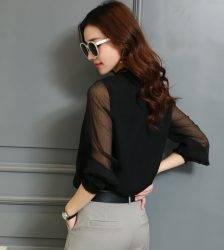 Chiffon Blouse New Women Tops Long Sleeve Stand Neck Work Wear Shirts Elegant Lady Casual Blouses women's blusas Plus size Blouses & Shirts WOMEN'S FASHION