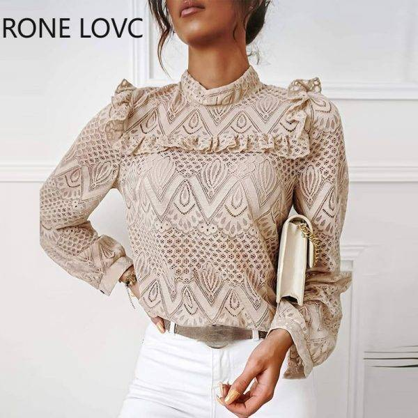Women Solid Lace Frill Hem Hollow Out Long Sleeve Top Women Tops and Blouses Blouses & Shirts WOMEN'S FASHION