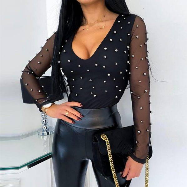 2020 Fashion Sexy Beading Mesh See Through Low Cut Skinny Long Sleeve Women Blouse Sexy Tops and Shirt Long Sleeve Women Shirt Blouses & Shirts WOMEN'S FASHION