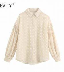 ZEVITY women fashion dot stitching appliques casual smock blouse office ladies lantern sleeve chiffon shirts blusas tops LS7194 Blouses & Shirts WOMEN'S FASHION