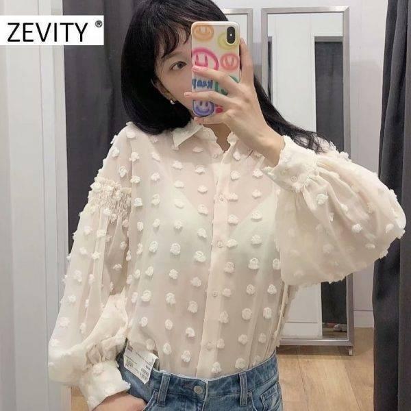 ZEVITY women fashion dot stitching appliques casual smock blouse office ladies lantern sleeve chiffon shirts blusas tops LS7194 Blouses & Shirts WOMEN'S FASHION