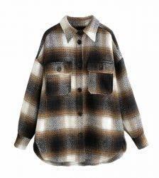 Plaid women oversize woolen shirts 2020 fashion ladies soft thick shirt party female elegant loose tops vintage girls chic shirt Blouses & Shirts WOMEN'S FASHION
