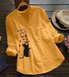 Womens Blouses V-neck Pleated Cat Print Long Sleeve Casual Tops Blouse Dames Blouses Lange Mouwen Blusas Ladies Tops Blouses & Shirts WOMEN'S FASHION
