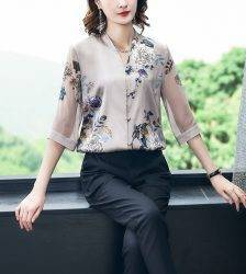Korean Silk Women Blouses Shirt Women Satin Shirt Elegant Woman Print Blouse Shirt Woman V Ncek Silk Mesh Shirt Tops Plus Size Blouses & Shirts WOMEN'S FASHION