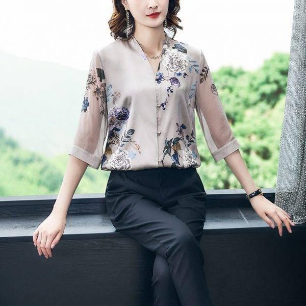Korean Silk Women Blouses Shirt Women Satin Shirt Elegant Woman Print Blouse Shirt Woman V Ncek Silk Mesh Shirt Tops Plus Size Blouses & Shirts WOMEN'S FASHION