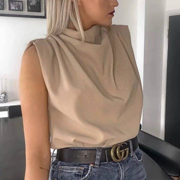 Vintage women elegant stand collar soft shirts 2020 summer fashion ladies stylish loose blouses casual female tops girls chic Blouses & Shirts WOMEN'S FASHION