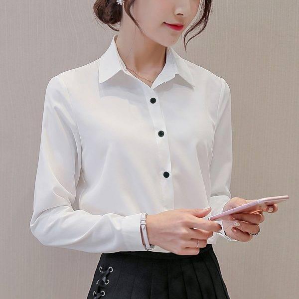BIBOYAMALL White Blouse Women Chiffon Office Career Shirts Tops Fashion Casual Long Sleeve Blouses Femme Blusa Blouses & Shirts WOMEN'S FASHION