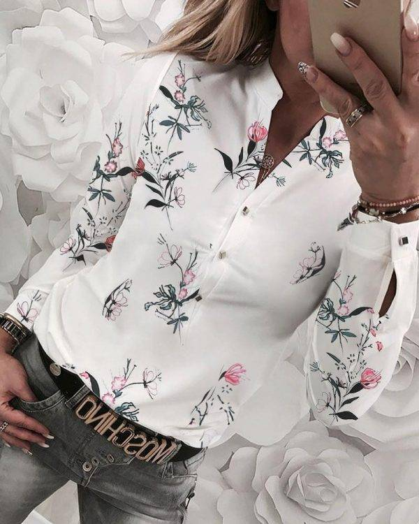 2020 New Women Shirt Floral V-neck Long-Sleeved Printed Shirt Hot Autumn Spring Female Casual Blouse Blouses & Shirts WOMEN'S FASHION