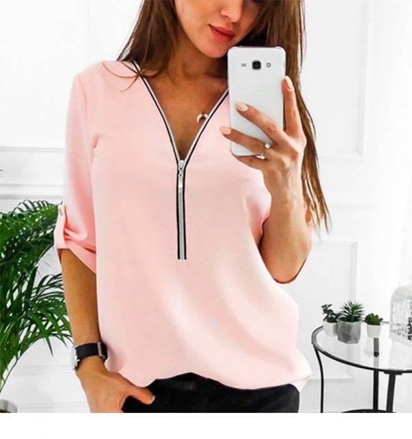 JODIMITTY Zipper Short Sleeve Women Shirts Sexy V Neck Solid Women Top Blouses Casual Tee Shirt Tops Female Clothes Plus Size Blouses & Shirts WOMEN'S FASHION