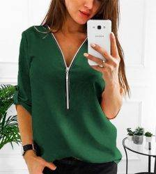 JODIMITTY Zipper Short Sleeve Women Shirts Sexy V Neck Solid Women Top Blouses Casual Tee Shirt Tops Female Clothes Plus Size Blouses & Shirts WOMEN'S FASHION