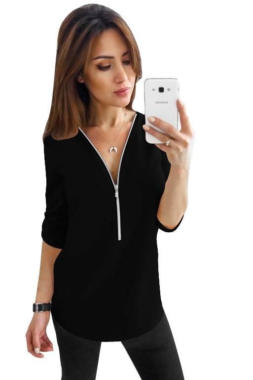 Blouse Women Summer Hot Style long-sleeved v-neck Zipper Loose Snow Spins Unlined Upper Garment Blusa Feminina Vestidos YFF6190 Blouses & Shirts WOMEN'S FASHION