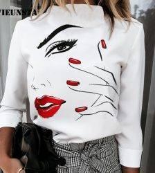 Elegant Lips Eyes Print Blouse Shirts Women O Neck Long Sleeve Office Tops 2020 Autumn Casual Streetwear Shirt Pullover Feminine Blouses & Shirts WOMEN'S FASHION