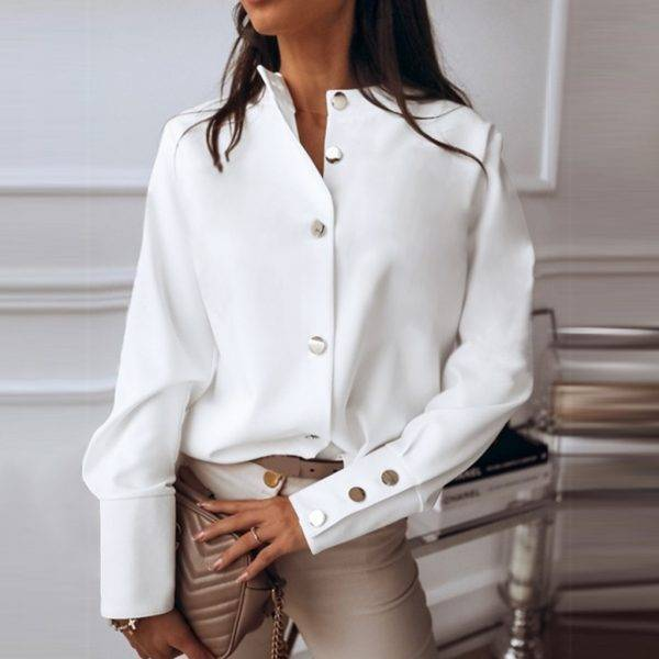 #Z20 Office Women's Blouse Round Collar Long Sleeve Metal Button Solid Casual Blouse Women Tops White Female Shirt Ropa Mujer Blouses & Shirts WOMEN'S FASHION