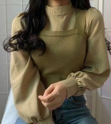 Neploe Women Elegant Sets Half Turtleneck Lantern Long Sleeve Pullover Blouse + Slim Knitted Short Vest 2020 Fahsion Suits 55701 Blouses & Shirts WOMEN'S FASHION