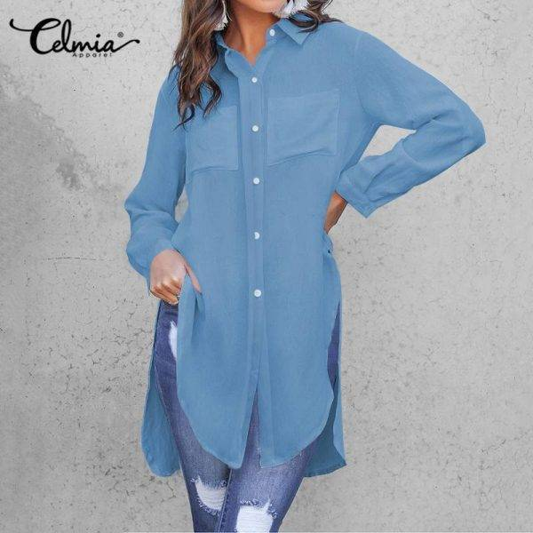 11 Colors Celmia Elegant White Long Sleeve Blouse Women Shirts Office Ladies Work Wear Turn Down Collar Womens Tops And Blouses Blouses & Shirts WOMEN'S FASHION