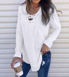 2020 Hot Women's Shirts For Spring Female V Neck Strap Long Sleeve Oversize Fashion Tops Female Elegant Top Autumn Blouse#guahao Blouses & Shirts WOMEN'S FASHION