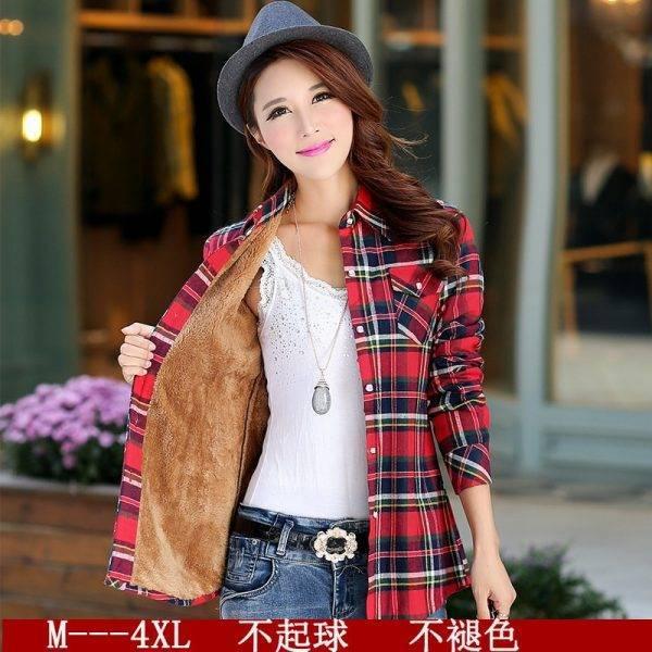 Winter Warm Blouses Camisa Femininas Long Sleeve Thick Velvet Plaid Shirt Flannel Shirts Cotton Top 4XL Plus Size Women Coats Blouses & Shirts WOMEN'S FASHION