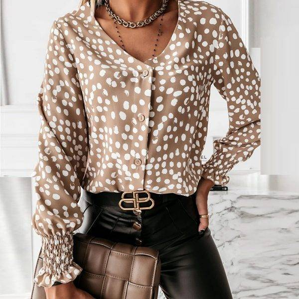 Elegant Polka Dot Ruffle blouse shirts Women Autumn Long Sleeve V-Neck Pullover Tops Office Lady Casual Button Plus Size blusa Blouses & Shirts WOMEN'S FASHION