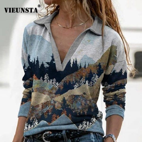 Elegant Pattern Landscape Print Blouse Shirt Women New Autumn Turn-down Collar Top Pullover Vintage Long Sleeve Streetwear Blusa Blouses & Shirts WOMEN'S FASHION