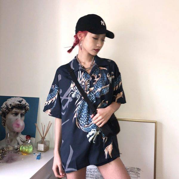 2020 Summer Spring Women Blouses BF stylle oversize shirts Harajuku Tops Dragon Print Short Sleeve Shirts Female Streetwear Blouses & Shirts WOMEN'S FASHION