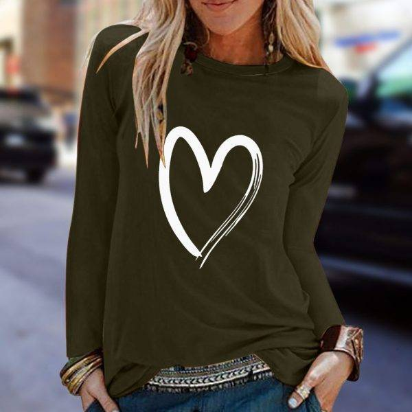 Women Love Heart Print Blouse O Neck Long Sleeve Casual Shirts Female Plus Size Loose Top Blusas Mujer #YJ Blouses & Shirts WOMEN'S FASHION
