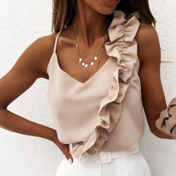 Laamei Women Summer Blouse Shirts Sexy V Neck Ruffle Blouses Backless Spaghetti Strap Office Ladies Sleeveless Casual Tops Blouses & Shirts WOMEN'S FASHION