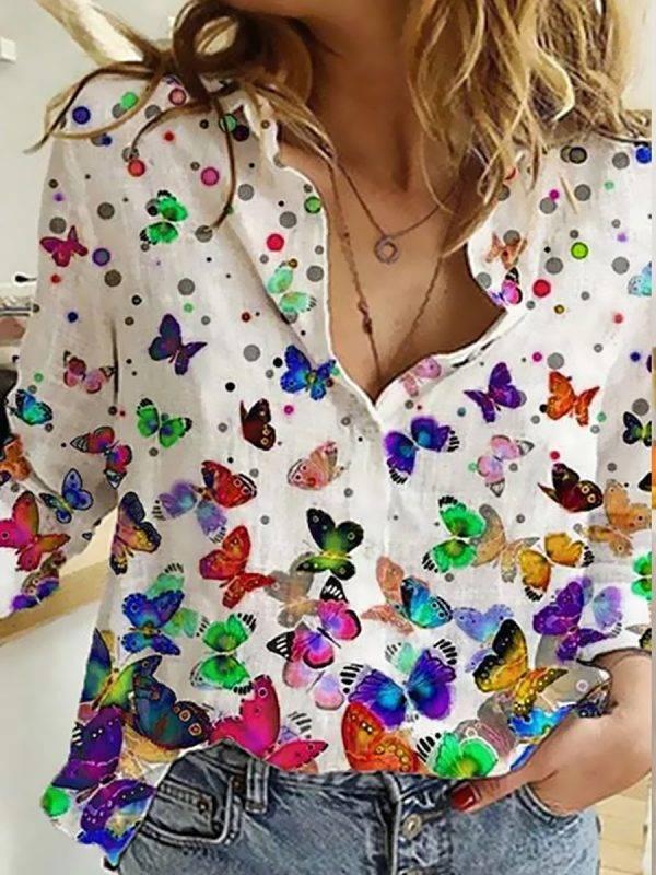 long sleeve shirt woman Fashion new shirt loose big size temperament casual print top woman Blouses & Shirts WOMEN'S FASHION