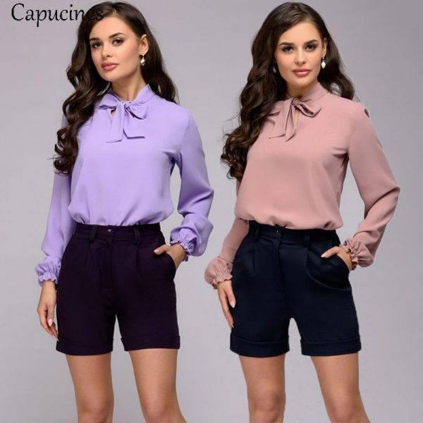 Capucines Elegant Bow Tie Women Shirt Spring Autumn Ladies Solid Long Sleeve Chiffon Shirts Casual Blouses Vintage Tops Blusas Blouses & Shirts WOMEN'S FASHION