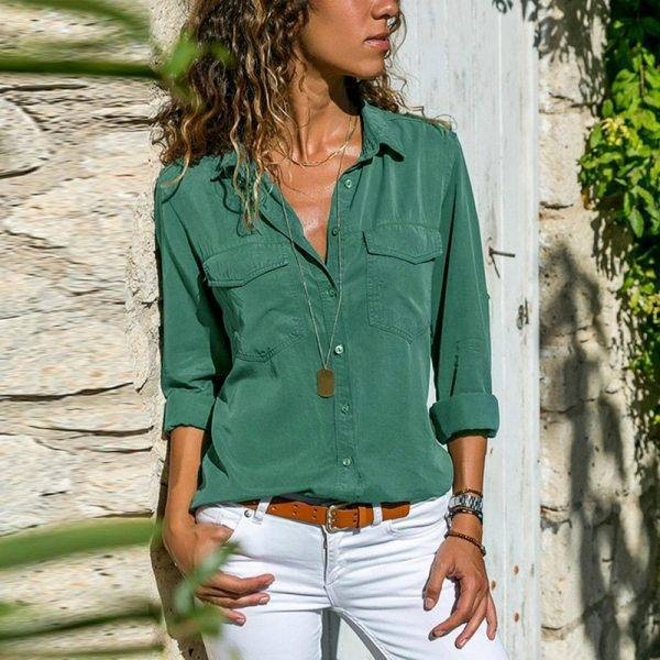 Laamei Long Sleeve Basic Shirts Women For Autumn 2020 Solid Cool Streetwear V Neck Sexy Tops And Blouses Turn Down Collar Blouses & Shirts WOMEN'S FASHION